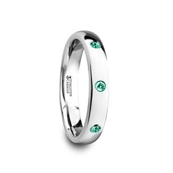 W4280-DPGE. CHLOE Polished and Domed Tungsten Carbide Wedding Ring with Three Green Emeralds Stones - 4mm