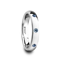 W4282-DPBS. HALIA Polished and Domed Tungsten Carbide Wedding Ring with Three Blue Sapphires Setting - 4mm