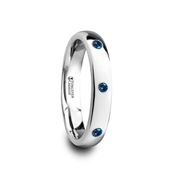 4292-TCAS. ALEX Polished Domed Tungsten Carbide Ring with Three Alexandrite Setting - 4mm