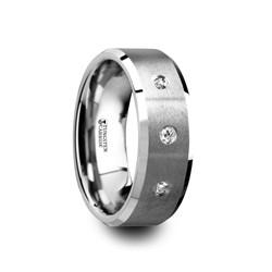 W4285-TCWD. SAMUEL Satin Finish Tungsten Carbide Wedding Ring with Three White Diamond Setting and Beveled Edges- 8 mm