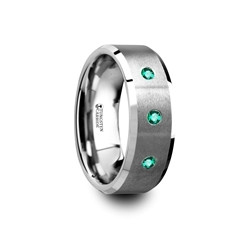 T5424-BPBE. ICARUS Brushed Tungsten Men's Wedding Ring with Polished Beveled Edges & 3 Emeralds - 8mm