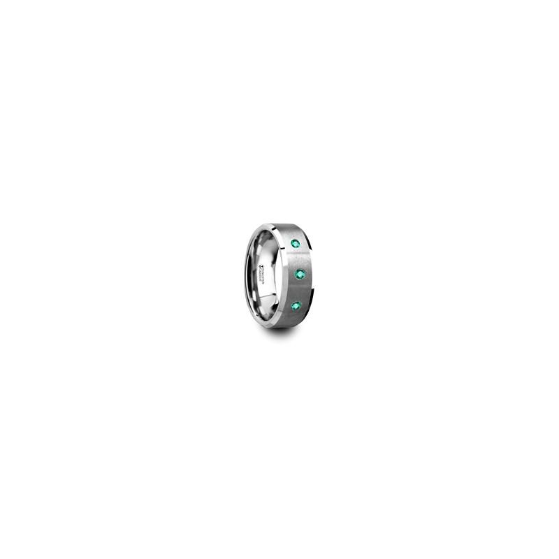 ICARUS Brushed Tungsten Menu0027s Wedding Ring With Polished Beveled Edges U0026 3