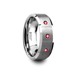 T5415-BPTR. NEREUS Brushed Tungsten Flat Wedding Band with Polished Beveled Edges & Rubies - 8mm