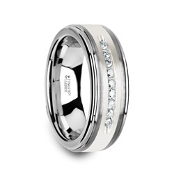 W3924-TCSD. HARPER Tungsten Wedding Band with Raised Center & Brushed Silver Inlay and 9 White Diamonds - 8mm