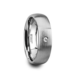 W4277-DBWD. PEGASUS Brushed and Domed Tungsten Carbide Wedding Ring with White Diamond - 6mm & 8mm