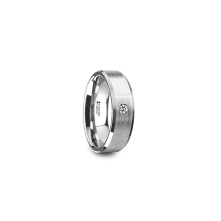 W4286-TCWD. PORTER Brushed Finish Tungsten Carbide Wedding Ring with White Diamond Setting and Beveled Edges- 6 mm & 8 mm