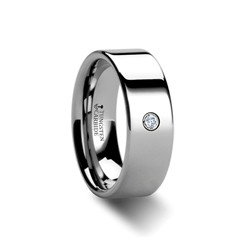 W312-FTDR. BRISTOL Pipe Cut Polished Tungsten Diamond Ring- 8mm