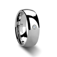W311-DDTR. BERKSHIRE Rounded Tungsten Ring with One Diamond - 4mm - 8mm