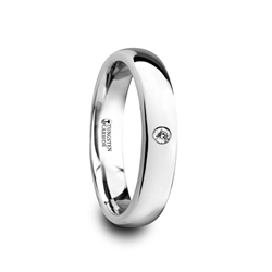 W4279-DPWD. GALE Polished and Domed Tungsten Carbide Wedding Ring with One White Diamond - 4mm & 6mm