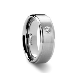 W8128-RSDB. BRIGHTON Tungsten Carbide Ring with Diamond Set - 8 mm