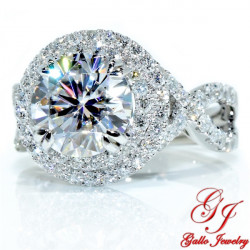 ENG01191. Round Diamond Halo Engagement Ring With An Infinity Twisted Band (Center Stone Sold Separately)
