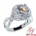 ENG01191. 2.20CT Round Forever ONE Moissanite in a Round Diamond Halo Engagement Ring With An Infinity Twisted Band