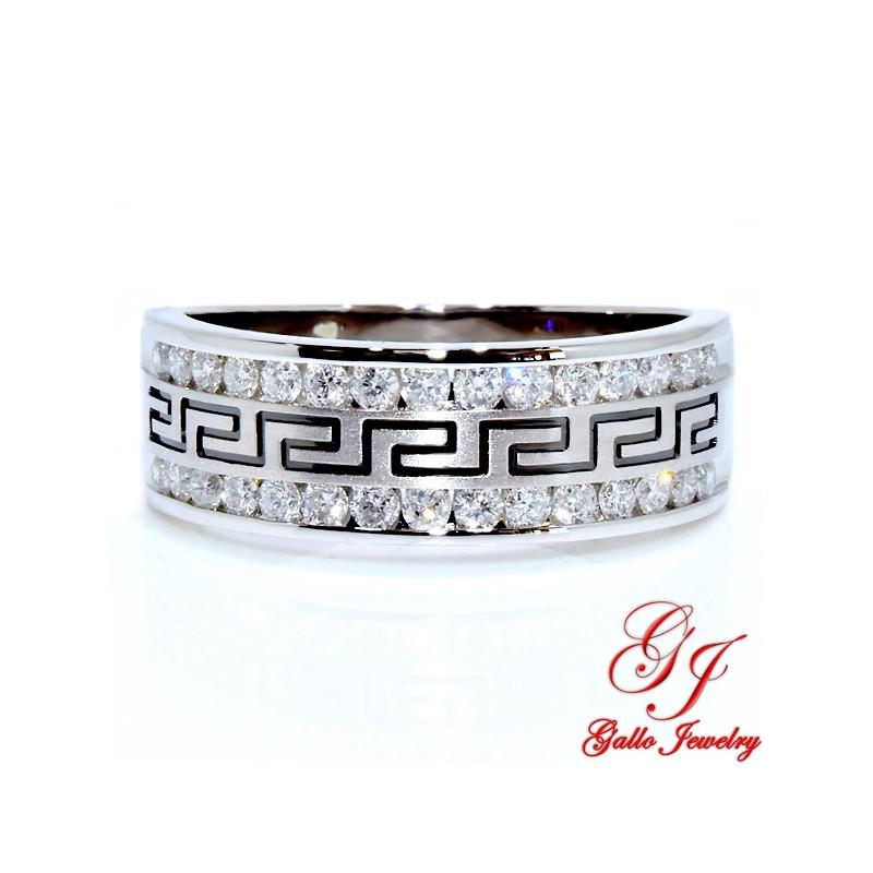 113085. Men's Diamond Wedding Band With Greek Key Design - 0.25ct