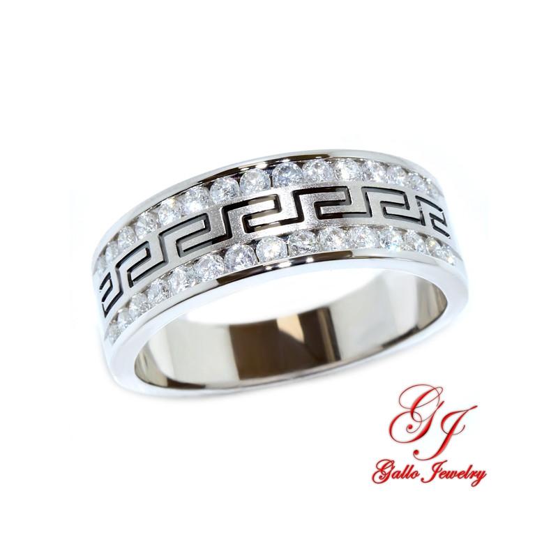 113028. Men's Diamond Wedding Band With Greek Key Design - 0.50ct