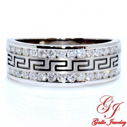 113050. Men's Diamond Wedding Band With Greek Key Design - 0.75ct