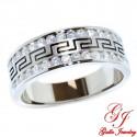 113050. Men's Diamond Wedding Band With Greek Key Design - 0.75ct
