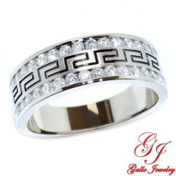110112. Men's Diamond Wedding Band With Greek Key Design - 1.00ct