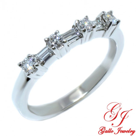WB00125. Woman's Diamond Wedding Band With Round and Baguette Diamonds