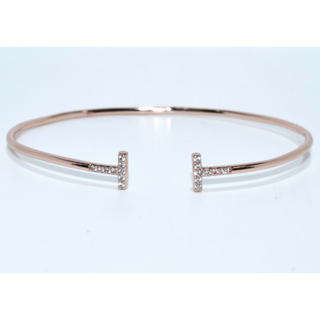 S0252. Sterling Silver T-Bar Bangle Cuff Rose Gold Plated