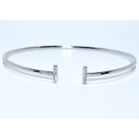 S0252. Sterling Silver T-Bar Bangle Cuff Rhodium Plated
