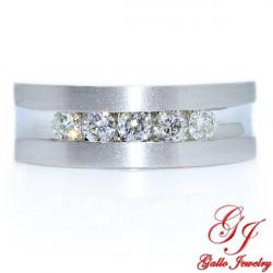 85671. Men's Diamond Five Stone Wedding Band With Brushed and Polished Finish
