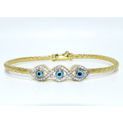 S0253. Sterling Silver Eye Bracelet With Crystals and Gold Plated Finish