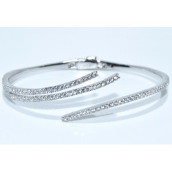 S0274. Sterling Silver Fancy Bangle Cuff Bracelet with Crystals