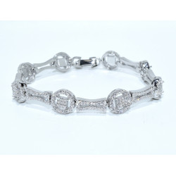 S0254. Sterling Silver Fancy Bracelet with Crystals