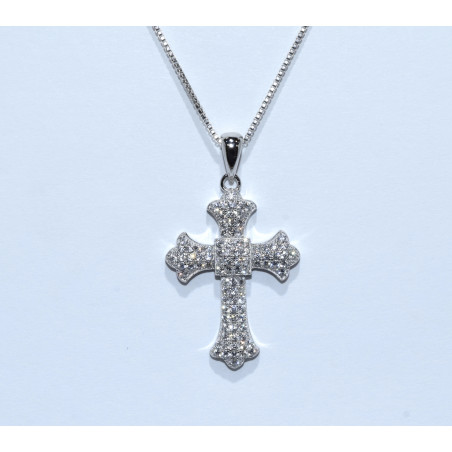 S0269. Sterling Silver Crystal Cross Pendant
