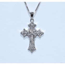 S0264. Sterling Silver Crystal Cross Pendant