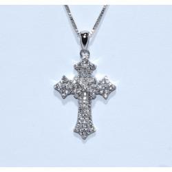 S0264. Sterling Silver Crystal Cross Pendant