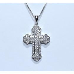 S0265. Sterling Silver Crystal Cross Pendant