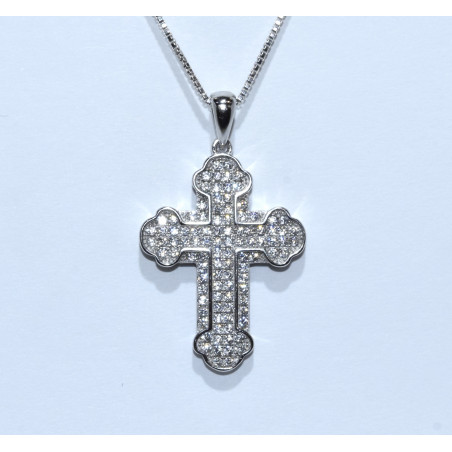 S0265. Sterling Silver Crystal Cross Pendant