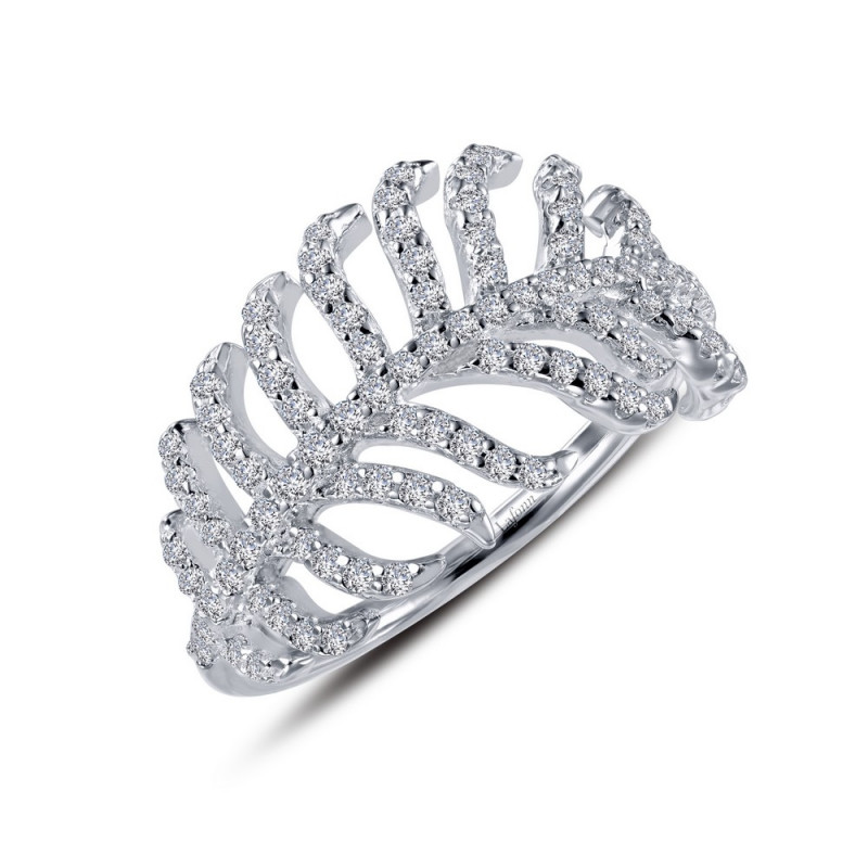 R0292CLP. Lafonn Sterling Silver Simulated Diamond Feather Ring