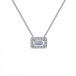 N0105CLP18. Lafonn Sterling Silver Simulated Baguette and Round Halo Pendant With Chain