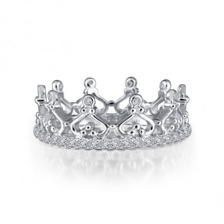 R0229CLP. Lafonn Sterling Silver Simulated Crown Eternity Ring