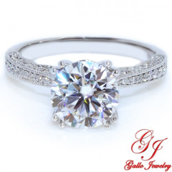 ENG00471. Diamond Antique Style Engagement Ring With Milgrain Design (Center Stone Sold Separately)