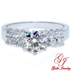 ENG00115. White Gold Double Row Diamond Engagement Ring (Center Stone Sold Separately)