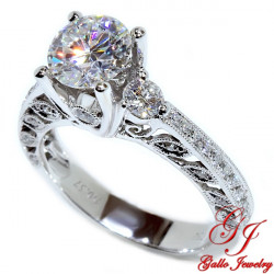 ENG00091. Diamond Antique Style Engagement Ring With Milgrain Design (Center Stone Sold Separately)