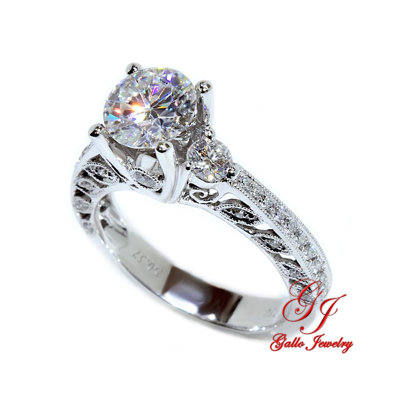 Diamond Antique Style Engagement Ring With Milgrain Design Center Stone Sold Separately