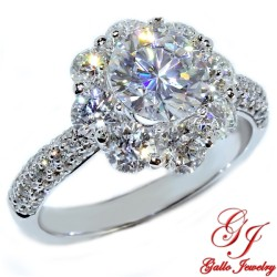 ENG00441. White Gold Round Diamond Halo Engagement Ring (Center Stone Sold Separately)