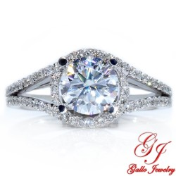 ENG00731. White Gold Diamond Halo Engagement Ring With Split Shank (Center Stone Sold Separately)