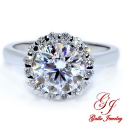 ENG00812. White Gold Diamond Halo Solitaire Engagement Ring (Center Stone Sold Separately)