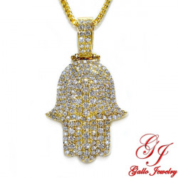 PEN02153Y. Yellow Gold Diamond Men's Pendant - Hamsa Hand