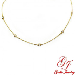 PEN02240. Yellow Gold Diamond By The Yard Necklace