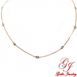 PEN01669. Rose Gold Diamond By The Yard Necklace