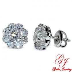 119070. White Gold Diamond Cluster Stud Earrings With Milgrain Design- 1.00ct