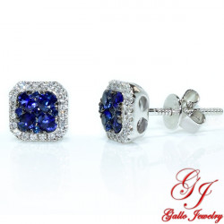 95467. White Gold Diamond And Sapphire Cushion Halo Stud Earrings