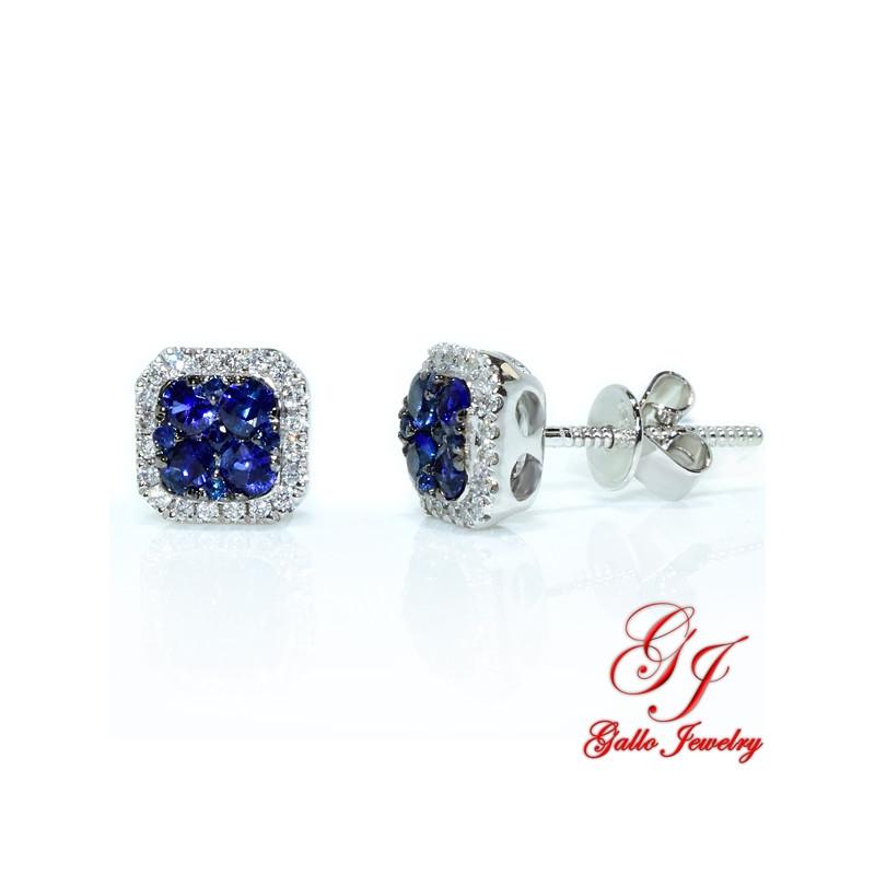 95467. White Gold Diamond And Sapphire Cushion Halo Stud Earrings