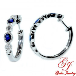 108067. White Gold Diamond And Sapphire Hoop Earrings